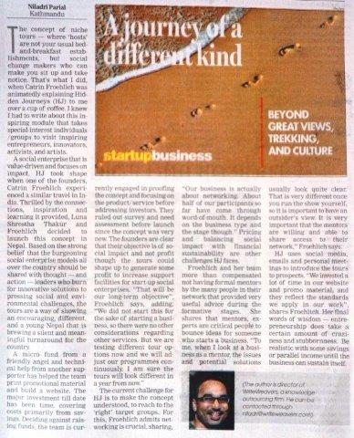Journeys of a different kind - the Himalayan Times Perspectives - Startup Column s 2